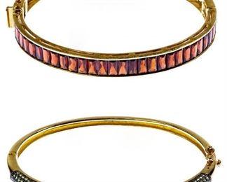 14k Gold and Semi Precious Gemstone Bangle Bracelets