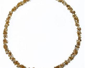 14k Gold Floral Necklace
