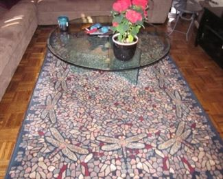 MCM Glass Cocktail Table  Rugs