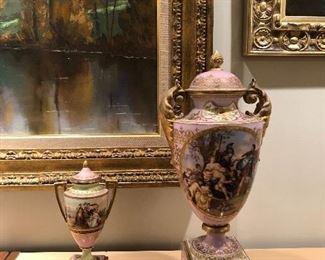set of classical antique urns