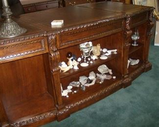Ultimate Executive Desk  by Heckman,  gallery front ,  carved detail , leather inlay top
