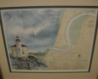 Coquille Light House framed print with map. .