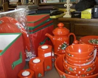 Holiday dishes, made in Germany including plates, bowls ,mugs, coffee pot,  creamer & sugar.   An additional 12  dinner plates are dated for the year 2000.  A complete set of china storage containers is also available.