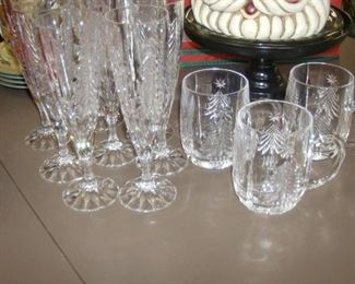 Holiday glassware including wines, mugs and rocks glasses.