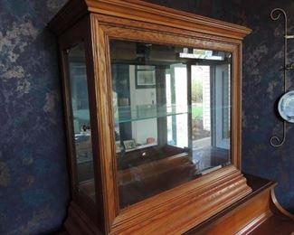 vintage oak lighted display cabinet