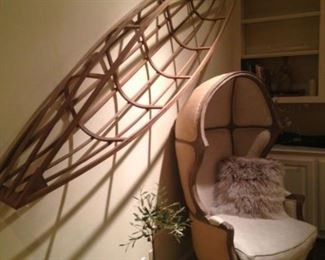 Canoe maquette  and balloon chair (from Restoration Hardware)