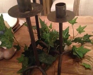 3 black iron candleholders