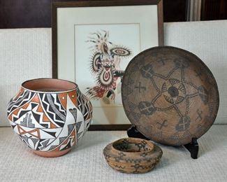 Acoma pot, Apache basket and Tulare basket