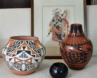 Acoma and Jemez large pots with a small Maria pot