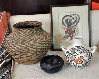 "Large Pima basket, 17"" in diameter and 13"" tall, Woody Crumbo art (9 pieces), Acoma and Santa Clara pieces (Acoma piece sold at preview.)"