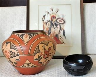 Signed Zia  and Santa Clara pots - both well known potters