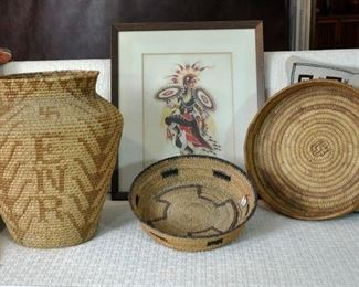 "Large 15"" basket and 2 Pima baskets - I think one of the Pima baskets sold at the preview."