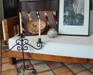 One of 2 Taos daybed, hand wrought candelabra, Zuni bowl, Gene Kloss The Archer (Zuni bowl sold at preview)