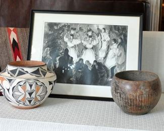 Gene Kloss' Deer Dance with another Acoma pot and an unidentified old pot