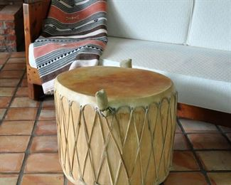 "Large, vintage drum made of a single tree log.  It is  19"" tall with 22"" diameter."