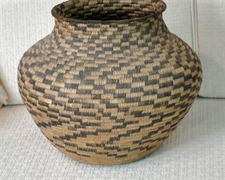"Large Pima basket 13.75"" tall with a 17"" diameter at the widest point."