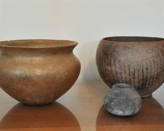 Old Taos micaceous bowl with another old bowl and small Pre-Columbian vase