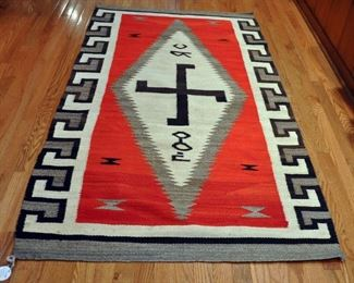 "Chagato diamond look, possible 1920s, 72"" by 40"", transition from blanket to rug; twirling log paths of life meeting and spinning; Navajo colors; custom rug"