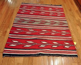 "Chinle Bands - 1950s, 55.5"" by 34"", learning patterns, Navajo corn, ends coming loose"
