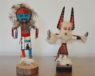 Sun God Kachina and small White Eagle Dancer with removable headdress