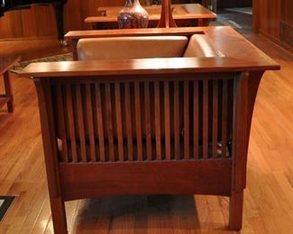 Side view of one of the Stickley arm chairs
