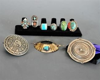 Rings, 2 silver buckles and a hair piece