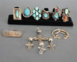More turquoise, coral and silver rings - some very nice turquoise