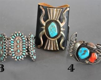 Zuni medallion, Navajo sandcast with large stone, shadowbox with turquoise and coral