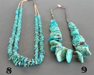 Nice 2 strand turquoise pieces with tab shaped stones - Necklace #9 sold at preview.