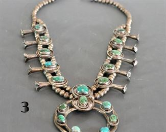 Squash blossom with 18 turquoise cabochons and large Naja - dark blue green stones with dark grey inclusions - Morenci - 182 grams