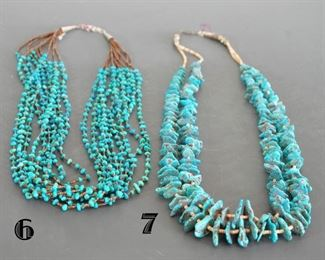#6 has ten strands of very pretty turquoise  #7 graduated flate stones with spacers