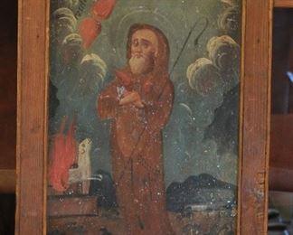St Francis de Pala oil on tin retablo
