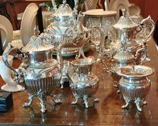 Very elaborate and extremely well made Goldfeder Silver Co. (Yalesville, Ct.) silver on copper full tea and coffee service - in beautiful display condition (late 1930s or 1940s)