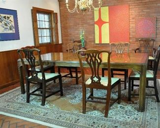 Large Heritage dining table with 3 leaves (one is in the table here), modern lines from the Sketchbook collection, a separate set of 8 antique Chippendale chairs - all on a Persian carpet (side chairs are 1700s, arm chairs approximately 1910)