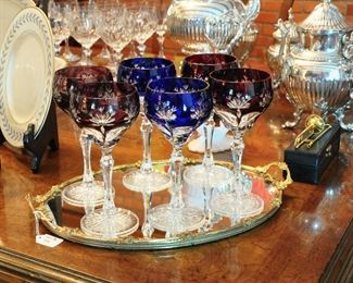 6 of a beautiful set of 12 cut to clear wine stems, original European set from mid century