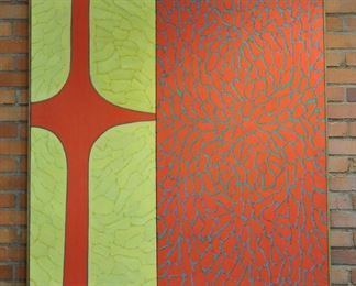 "Large Hugh Gibbons Op Art painting - 49"" by 47"""