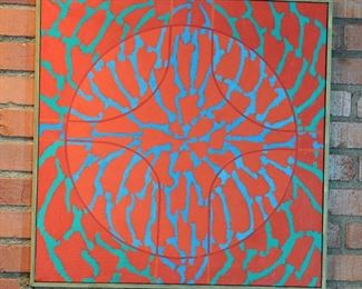 "Smaller Hugh Gibbons Op Art painting 25"" by 25"""
