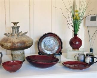 1960s ceramic studio art by Franz Kriwanek - some of the items' glazes occur when using cotton seed ash.