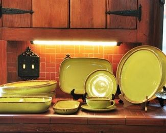 Large, well cared for 1950s modern dinner ware by Brock of California - style is called Desert Mist in chartreuse  - Brock was active from 1947 to mid 1950s.