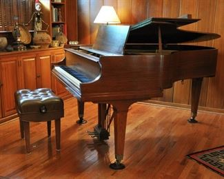 "Beautiful Baldwin L grand walnut piano, 6' 3"", serial #165479, 1965, excellent condition with cover and freshly tuned and extremely well cared for by the faculty member who owns it.  It has an earlier appraisal for $18,000.  The Baldwin L grand is still highly regarded."