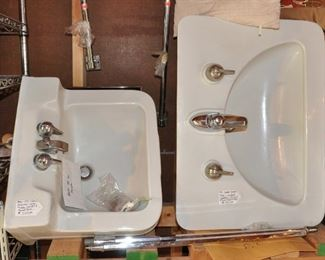Shed - 2 mid century (1951) sinks, one with its metal legs - highly sought after and very pricey in some locations