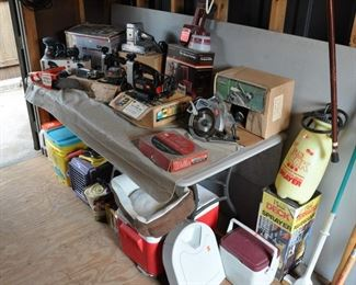 Shed - nice assortment of power tools - working - some vintage
