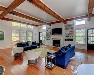 Another photo of the Montauk sofas and the Coup D'Etat swivel club chairs.