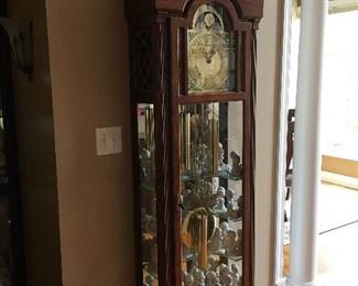 Grandfather clock with glass display shelves!