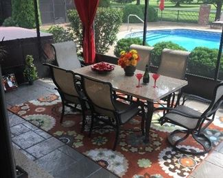 Outstanding solid granite, table with 6 chairs