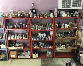 Shelving units filled with small collectibles.