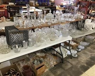 Tables full of glassware and more!