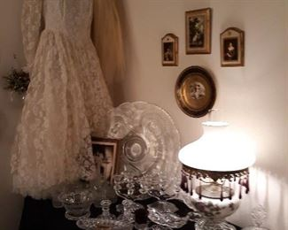 Vintage Wedding Gown, Glassware & Vintage Lamp