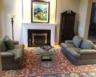 Living Room. (Queen Anne Style Secretary and Class Coffee Table Not For Sale).