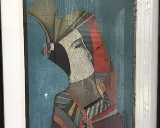 Signed and Numbered Lithograph by  Mihail Chemiakin.  Title: Double Portrait of Rebecca with Mask - 143/225.  An Impressionist portrait of his wife.